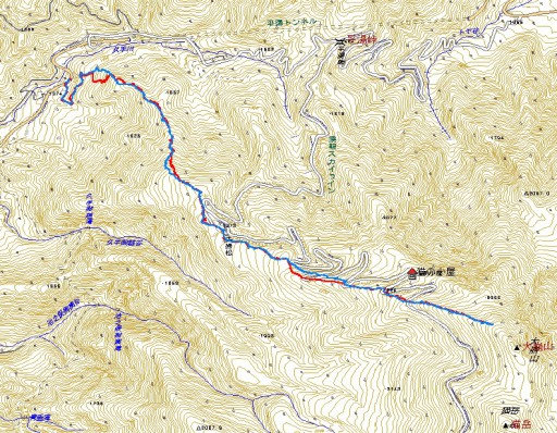 登り:赤ルート 下り:青ルート